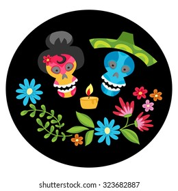Poster with colorful skulls with  candle and flower wreath for day of the dead or halloween. Sugar skulls for mexican day of the dead or halloween. Cute skulls and flowers in a cartoon style.