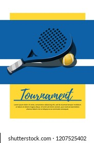 Poster competition paddle tennis. Tournament. vector