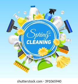 Poster with composition of different tools for cleaning service colored on blue background vector illustration