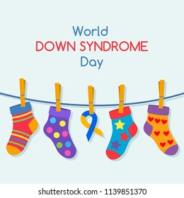 """Poster concept """"International Day of People with Down Syndrome"""". Vector illustration isolated on white background"""