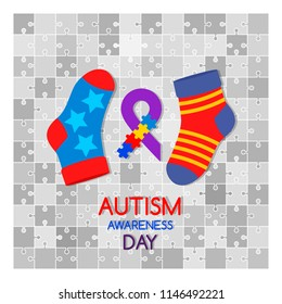 """Poster concept """"International day of people suffering from autism"""". Vector illustration isolated on white background"""