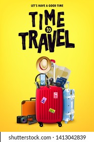 Poster Concept Tourism Front View with Red 3D Traveling Bag and Realistic Travel Item Elements in Yellow Orange Background Design. Vector Illustration