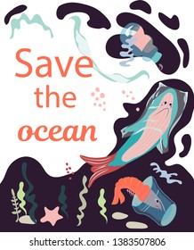 A poster containing a call to save ocean from plastic waste with a fish and other sea dewells  entangled in a plastic bags. Fighting for ecology and reducing the use of plastic concept.