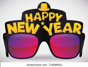 Poster with cool party glasses and greetings decorated with a hat and stars, ready to be used in New Year's Eve party.
