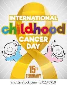 Poster with a couple of cute children in doodle style behind a golden lace remembering at you the importance in prevention and fight in the International Childhood Cancer Day in February 15.