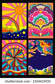 Poster, Cover Backgrounds Psychedelic 1960s Hippie Style