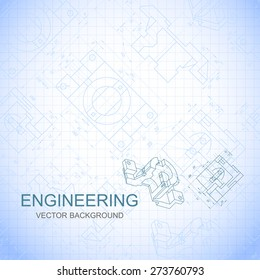 Poster, cover, banner, background of engineering drawings of parts. Notebook sheet. Vector illustration