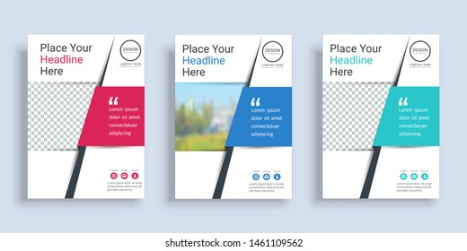 Poster cover book design template in A4 layout with space for photo background, 3 Color ways included, Use for annual report, proposal, portfolio, brochure, flyer, leaflet, catalog, magazine, booklet.