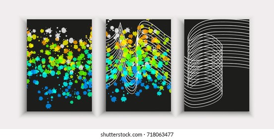 Poster covers set with modern hipster and memphis background colors. Vector templates for placards, banners.