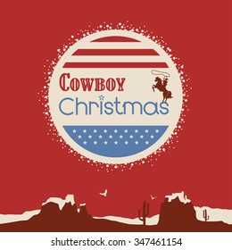 Poster of cowboy christmas background with patriotic elements