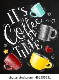 Poster with cups lettering coffee is my best friend drawing on chalkboard background