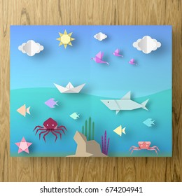Poster with Cut Starfish, Birds, Fish, Sun, Sky Style Paper Crafted Origami. Abstract Underwater Life. Publish Template Under the Water with Cutout Elements, Symbols. Vector Illustrations Art Design.