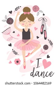 poster with cute ballerina - vector illustration, eps