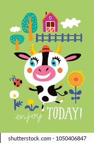 Poster with a cute cow on a green background. Childish vector illustration in vector.