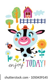 Poster with a cute cow on a white background. Childish vector illustration in vector.