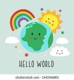 poster with cute Earth,cloud, rainbow and sun - vector illustration, eps