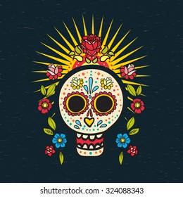 The poster  of Day of the Dead, a traditional holiday in Mexico. Skulls,  ribbons,  for design, t-shirt