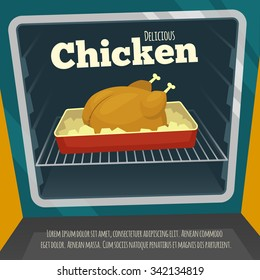 Poster with delicious chicken in the oven / Cartoon vector illustration / Hot meal roasted /  cooking food