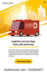 Poster Delivery or Logistics. Red Commercial Car on Yellow Landscape Background in Minimal Design with Yellow Download Button. Flat Vector Illustration.