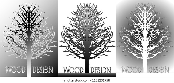 Poster depicting the silhouette of a tree in various color variants. can be used as a logo or design