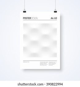 Poster design abstract template in minimalism style with paper clips vector illustration