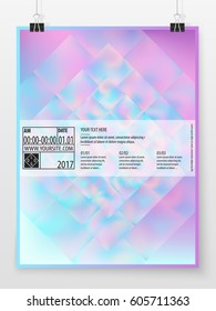 Poster design. Business concept. Holographic banner template. Poster graphic. Promotion cover. Vector flyer mock up. Presentation design for business, art or entertainment event.