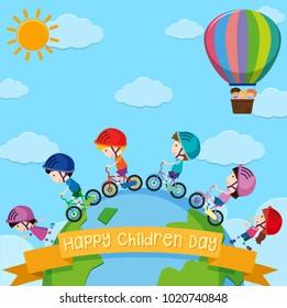 Poster design for children day with kids around the world illustration