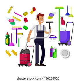 Poster design for cleaning service and cleaning supplies. Vector detailed character professional housekeeper, kit icons isolated on white background