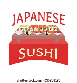Poster design concept with different kinds of japanese sushi and rolls on a wooden board. Vector illustration isolated on a white background.