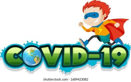 Poster design for coronavirus theme with boy in hero costume illustration