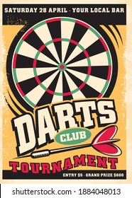 Poster design for darts tournament event with dartboard and arrow. Retro leisure flyer advertisement. Promo vector design competition layout.