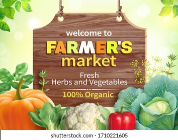 Poster design for farmers market. Vector illustration.