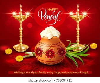Poster design with gold diyas, traditional pot and rangoli for Indian harvest festival Pongal (Makar Sankranti). Vector illustration.