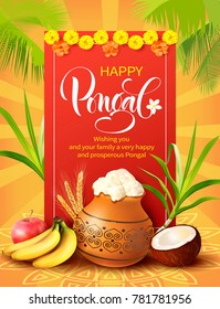 Poster design for Indian harvest festival Pongal (Makar Sankranti). Vector illustration.
