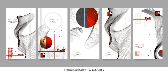 Poster design Japanese style templates set invitations to lines abstract background for book cover texture brochure. Stock vector illustration eps 10
