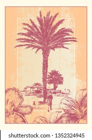 Poster Design Resort Landscape With Palm Tree And Girl Walking To The Beach. Vector Illustration.