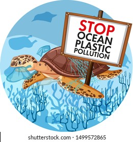 Poster design with sea turtle holding stop plastic pollution illustration