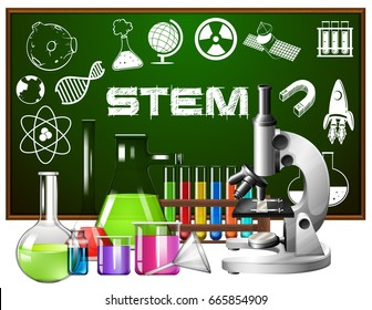 Poster design for stem education with science tools illustration
