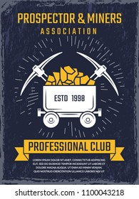 Poster design template of mineral and gold mining theme. Vector emblems industrial association prospector illustration