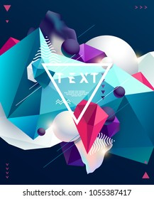 Poster design template with polygonal elements