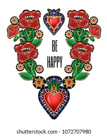 Poster or design t-shirt with traditional Mexican hearts with fire and flowers, embroidered sequins, beads and pearls. Vector patches.