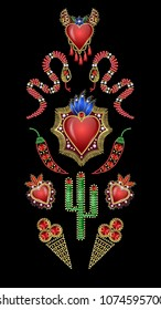 Poster or design t-shirt with traditional Mexican hearts, snake, cactus patches embroidered sequins, beads and pearls.