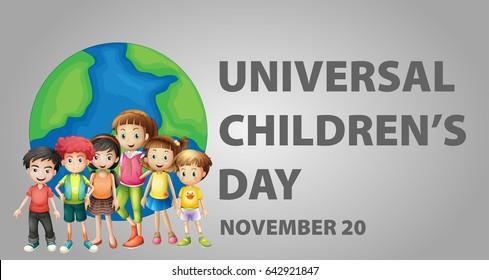 Poster design for Universal children's day illustration