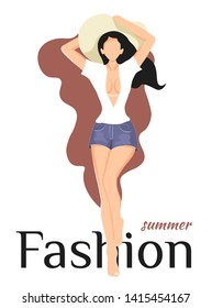 """Poster design with young beautiful woman in a hat, white blouse and denim shorts. """"Summer Fashion"""" phrase. Vector illustration can be used in postcards, posters, flyer, cover, invitation."""