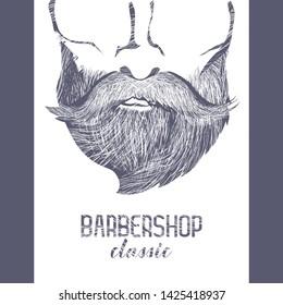 Poster designed for Barbershops, harcut salon etc. Vector Illustration.
