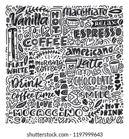 Poster with different coffee related words made in several styles of lettering. Great poster for coffee shop or restaurant. Include words like americano, hot drink, espresso.