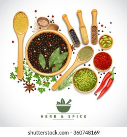 Poster of different cooking herbs and spices in wooden dish on white background realistic vector illustration
