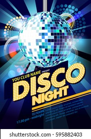 poster disco night party with disco ball vector illustrator