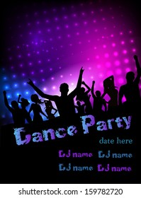 Poster for disco party with silhouettes of dancing people