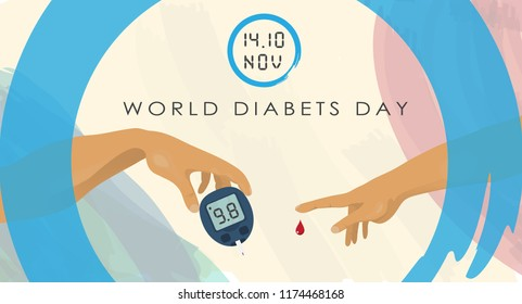 Poster doctor's hand measures the blood sugar (glucose) level of the patient. The layout of the meter with a set of numbers. Сoncept world diabets day